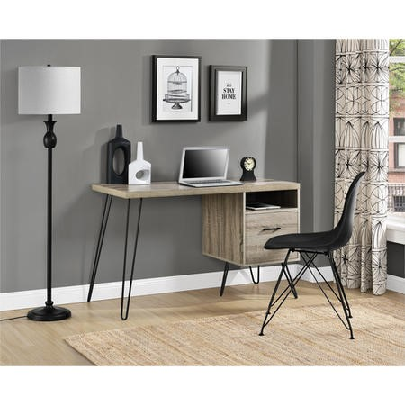 Landon Desk in Distressed Grey Oak with Hairpin Legs