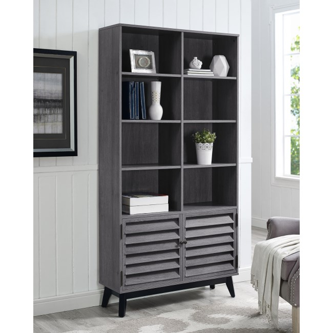 Grey Oak Bookcase with Open & Closed Storage - Vaughn