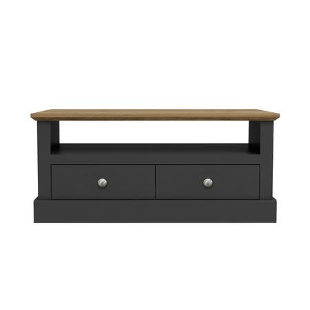 Devon Coffee Table in Charcoal with Oak Top