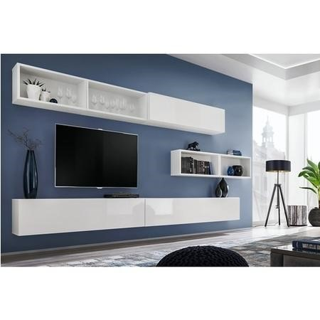 White High Gloss Floating TV Unit with Top Open Shelves - Neo