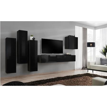 Black Floating TV Unit with Storage - Neo