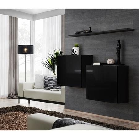 Two Black Floating Wall mount Square Display Cabinets - Neo