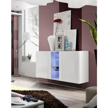 White Floating Sideboard with LED Lighting & Glass Shelves - Neo
