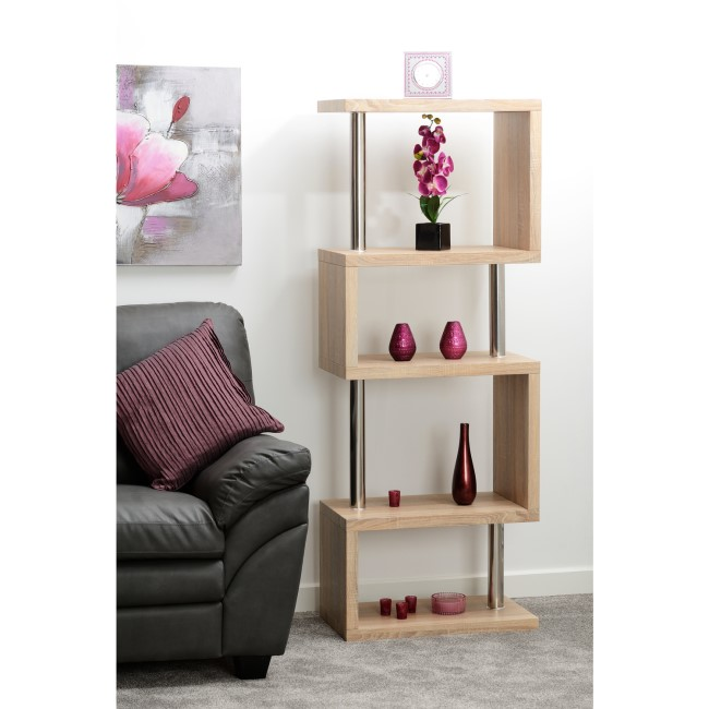 Charisma Bookcase in Light Oak Effect with 5 Shelves