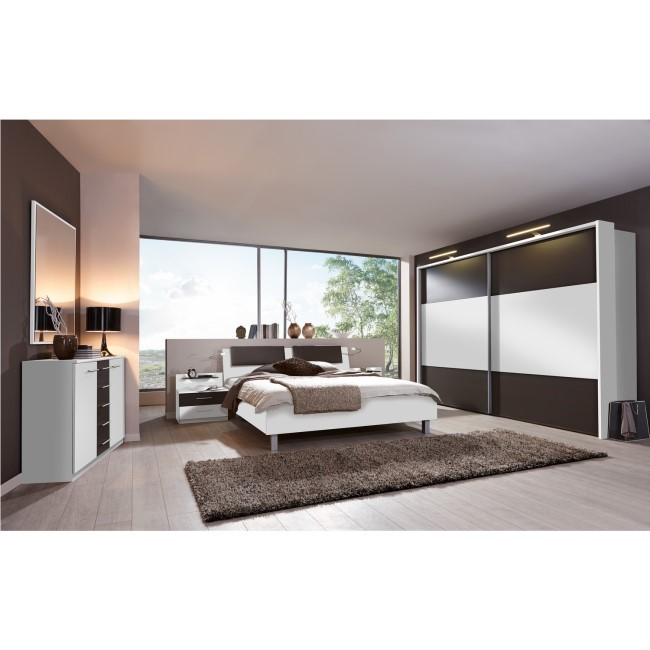 Wiemann Portland 2 Door Sliding Wardrobe in White and Havana with LED Lights - Installation Included