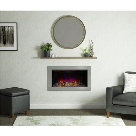 Avella Wall Inset Electric Fire Brushed Steel