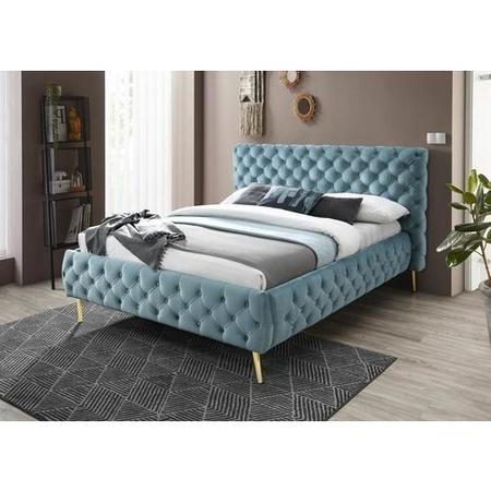 Paislee Buttoned headboard and Frame Double bed in Crystal