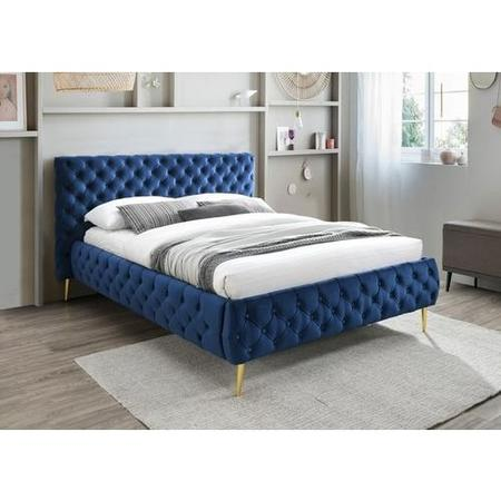 Paislee Buttoned headboard and Frame King Size bed in Blue