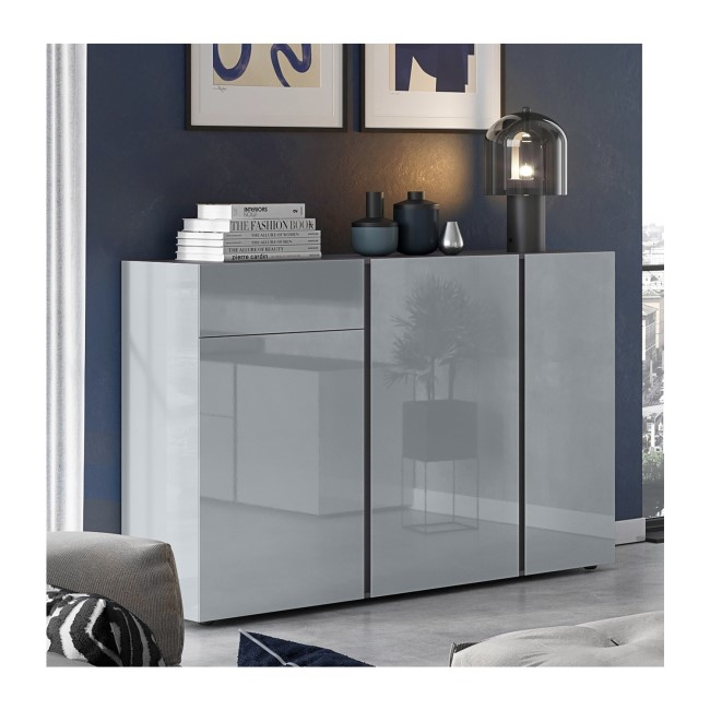Extra Large Grey Gloss Sideboard