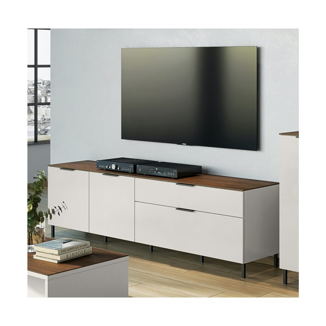 Cashmere Cream TV Unit with Wood Top - California