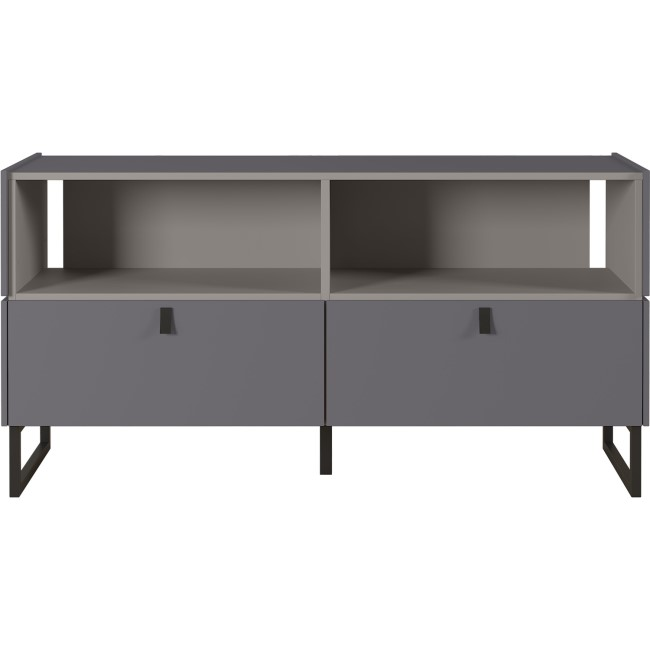 Mamiko Small Grey TV Unit with 2 Drawers & Open Shelves