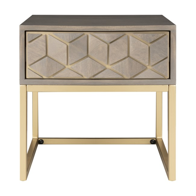 Grey Wash Side Table with Gold Legs and Storage Drawer - Alice