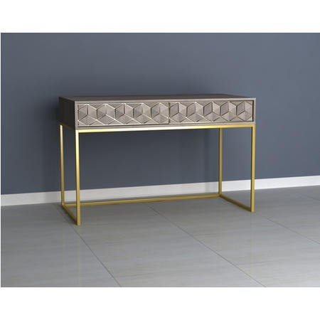 Office Desk in Grey Wash with Gold Legs - Alice