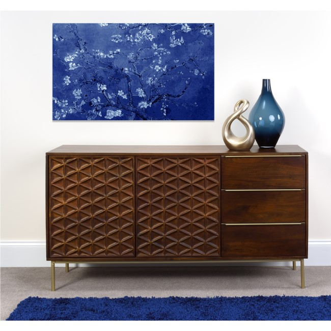 Dark Mango Wood Large Sideboard with Gold Legs - Artisan House