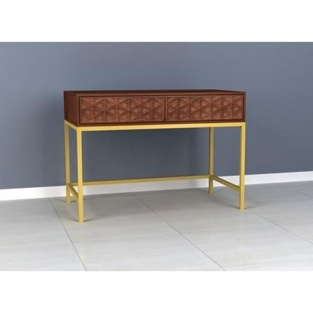 Dark Mango Wood Console Table with Gold Legs - Ander