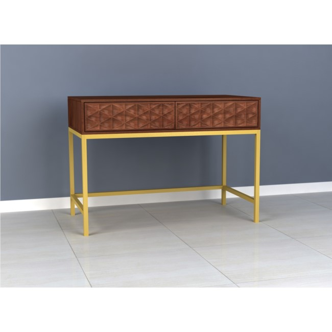 Dark Mango Wood Console Table with Gold Legs - Artisan House
