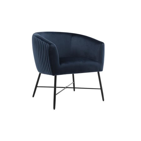 Navy Blue Accent Chair with Black Legs - Zara