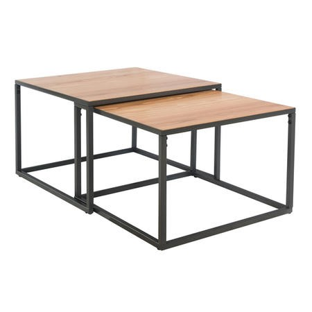 Industrial Coffee Nest of 2 Tables with Black Legs
