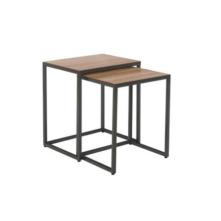 Industrial Nest of 2 Tables with Black Legs
