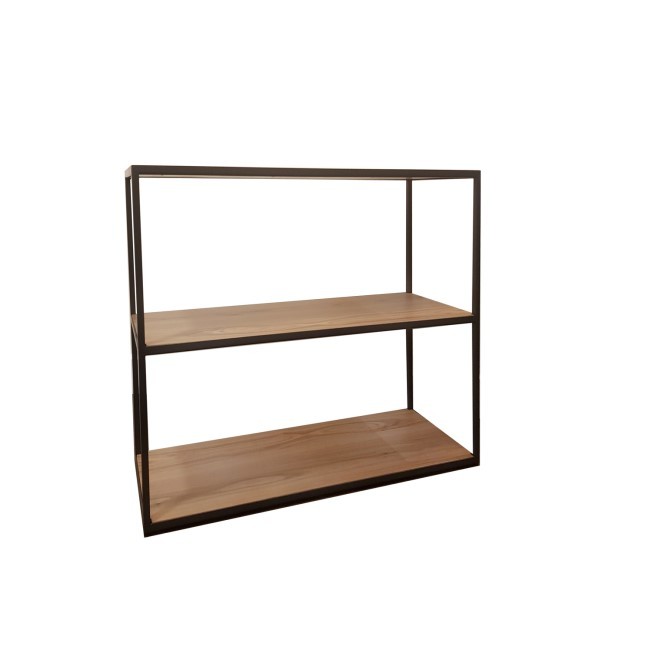 Industrial Small Bookcase with 3 Shelves