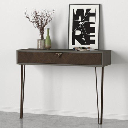 Grey and Brown Console Table with Hairpin Legs
