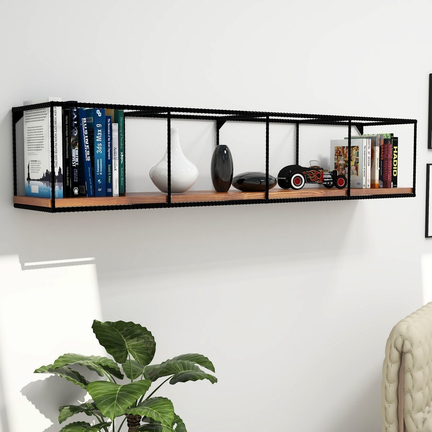 Photo of Industrial style wall hanging shelf