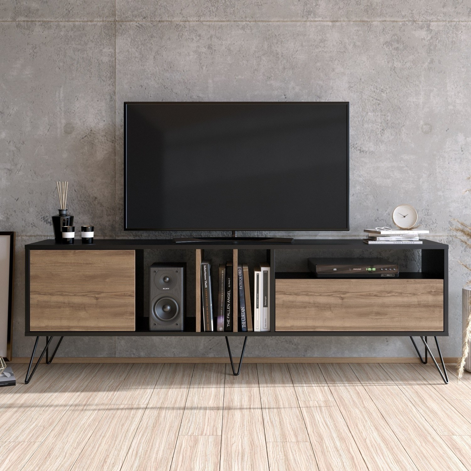 Walnut And Black Large Tv Stand Furniture123