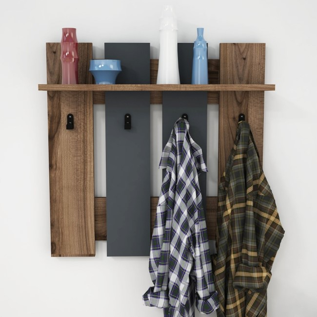 Wall Hanging Hallway Unit with Coat Hooks and Shelf