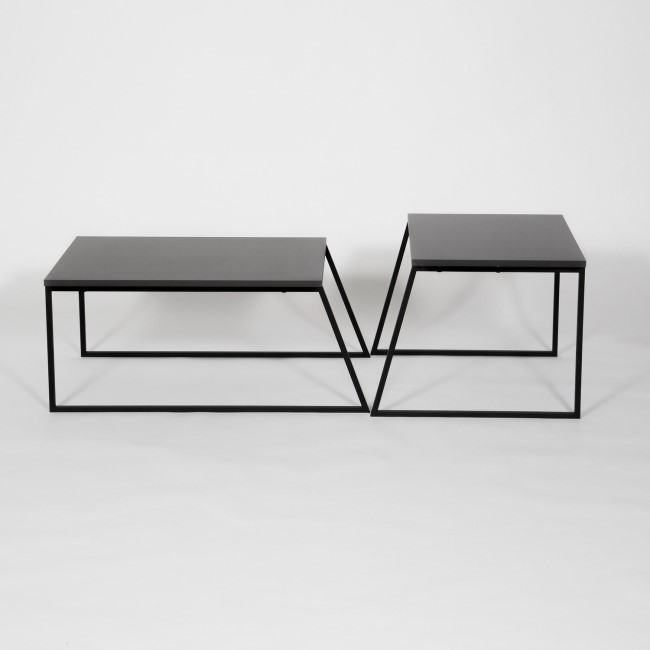 Antracite Grey Coffee Table Set with 2 Tables and Black Metal Frame