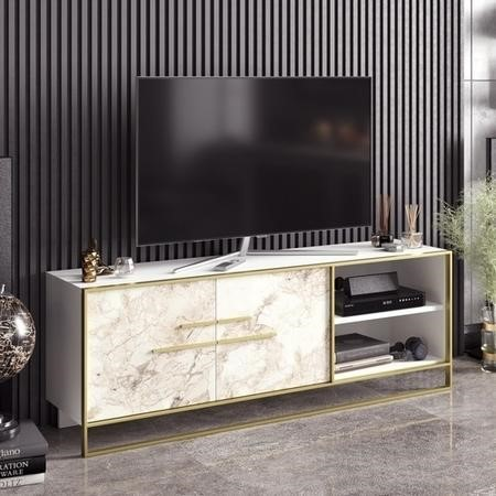 Gold and White Marble Effect TV Unit