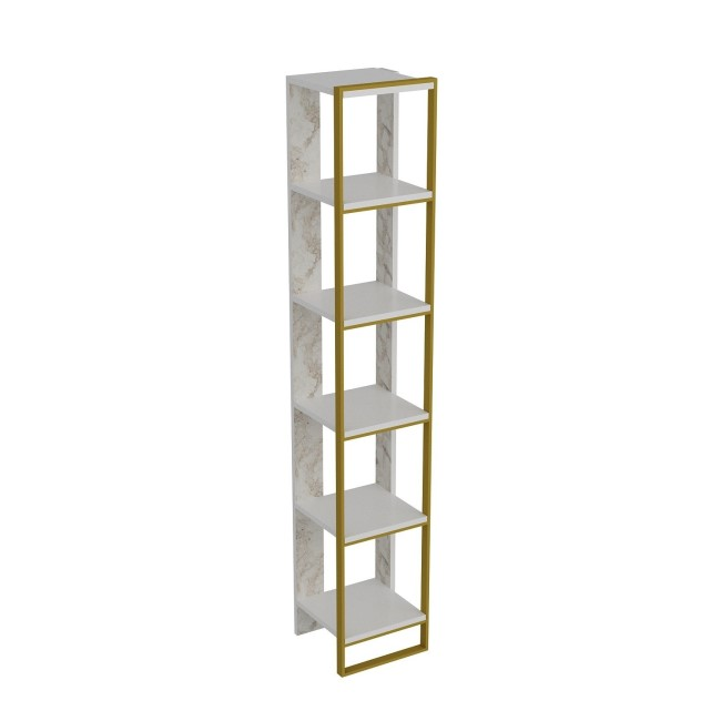 Narrow Bookshelf in White Marble Effect with Gold Details