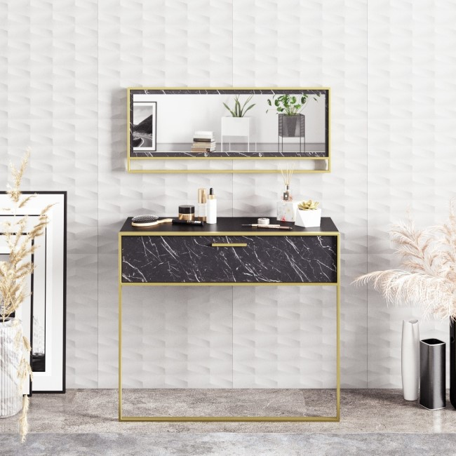 Black Marble Effect Console Table with Gold Details and Matching Mirror