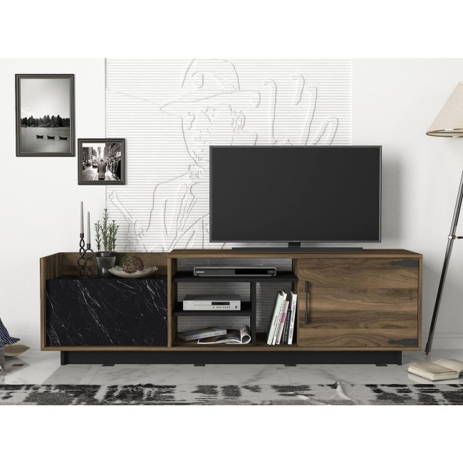 Walnut and Black Marble Effect TV Unit