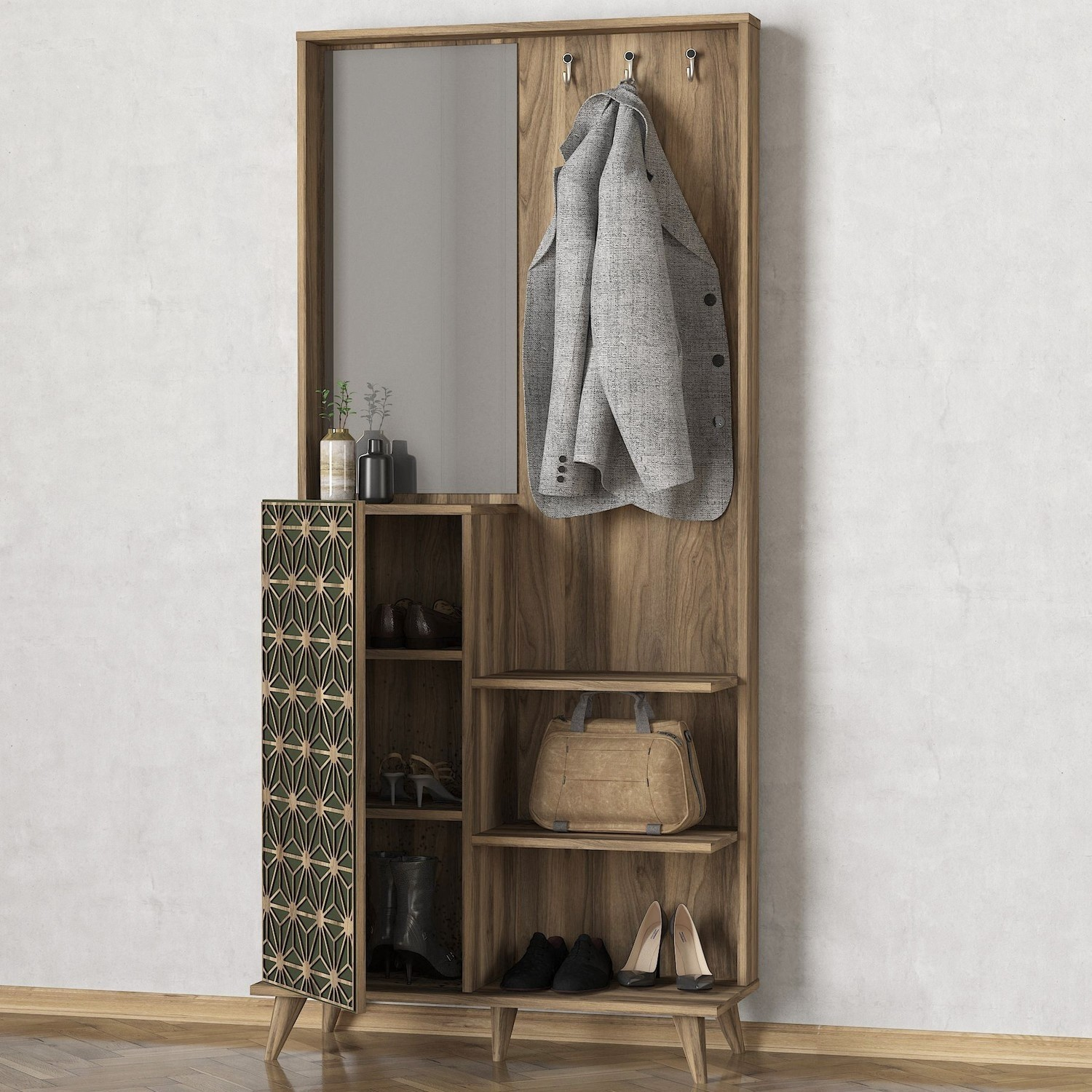 Wooden Tall Hallway Unit With Coat Hooks And Mirror Furniture123