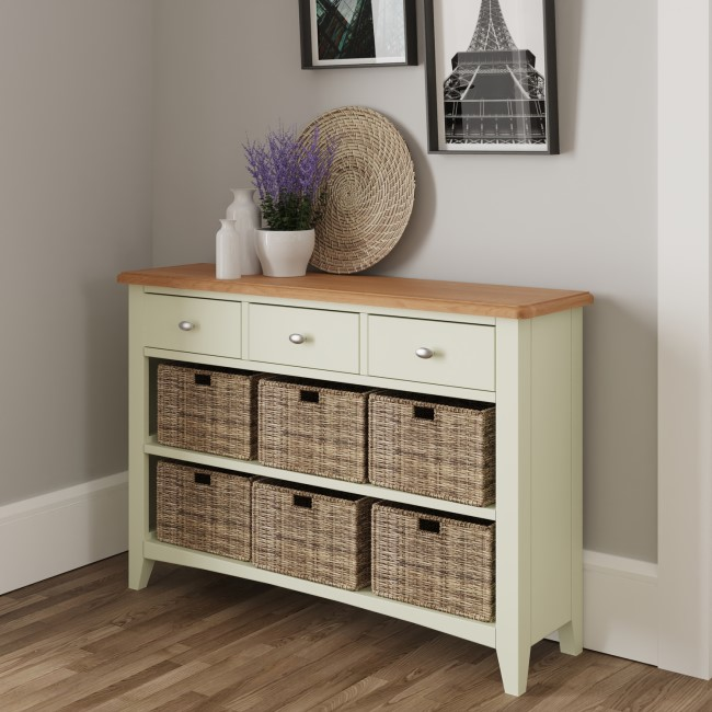 Bourton 3 Drawer 6 Basket Storage Unit in White and Light Oak