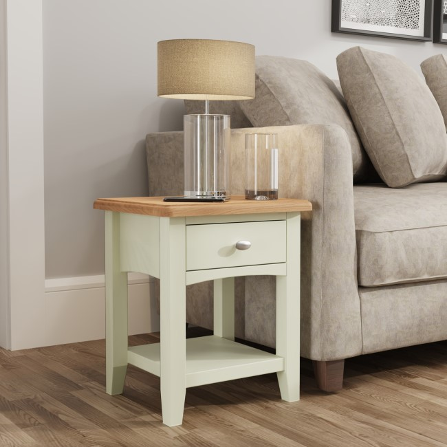 Bourton 1 Drawer Lamp Table in White and Light Oak
