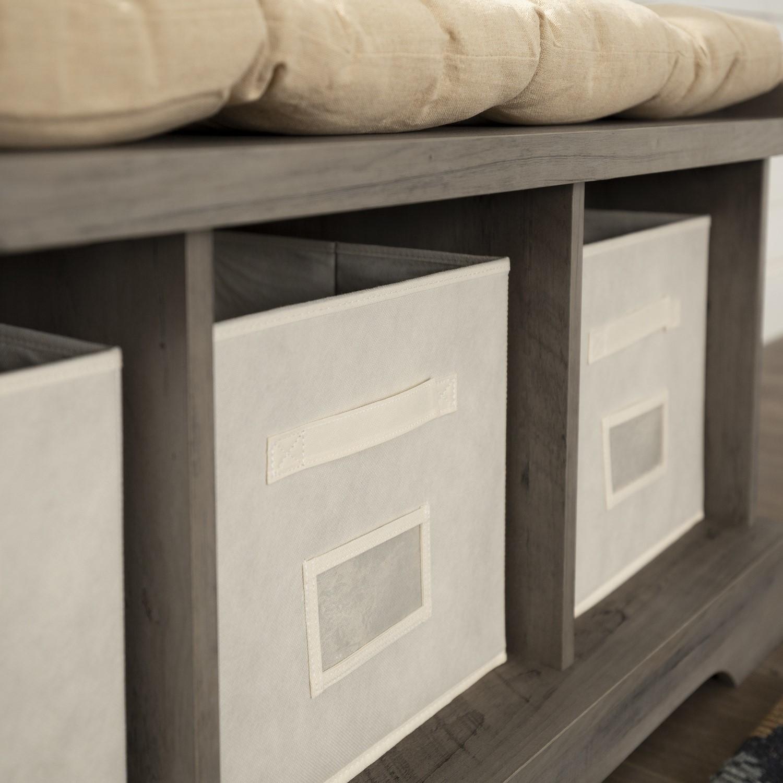 Foster Modern Farmhouse Entryway Storage Bench In Grey Wash Furniture123