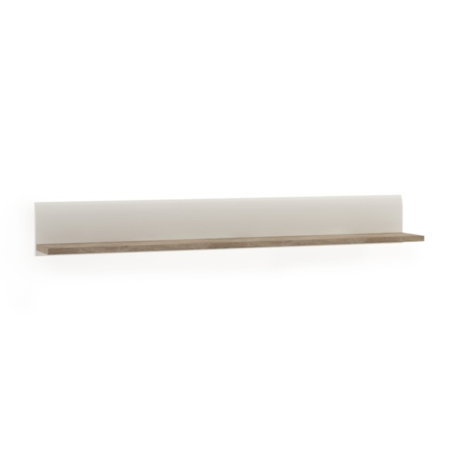 Chelsea White High Gloss & Oak Wall Shelf