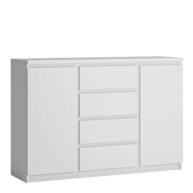 Fribo 2 Door 4 Drawer Sideboard in White High Gloss