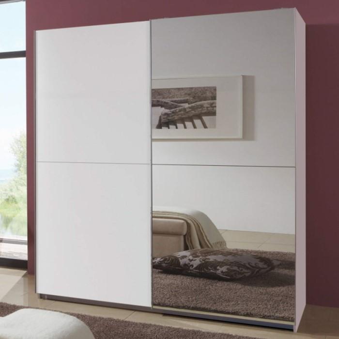 evoque mirrored sliding door wardrobe in white furniture123