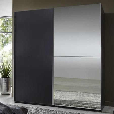 Evoque Sliding Mirrored Wardrobe Lava Grey Furniture