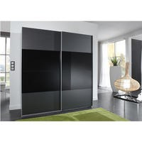 Evoque Charcoal Grey Sliding Wardrobe with Black Glass Panel