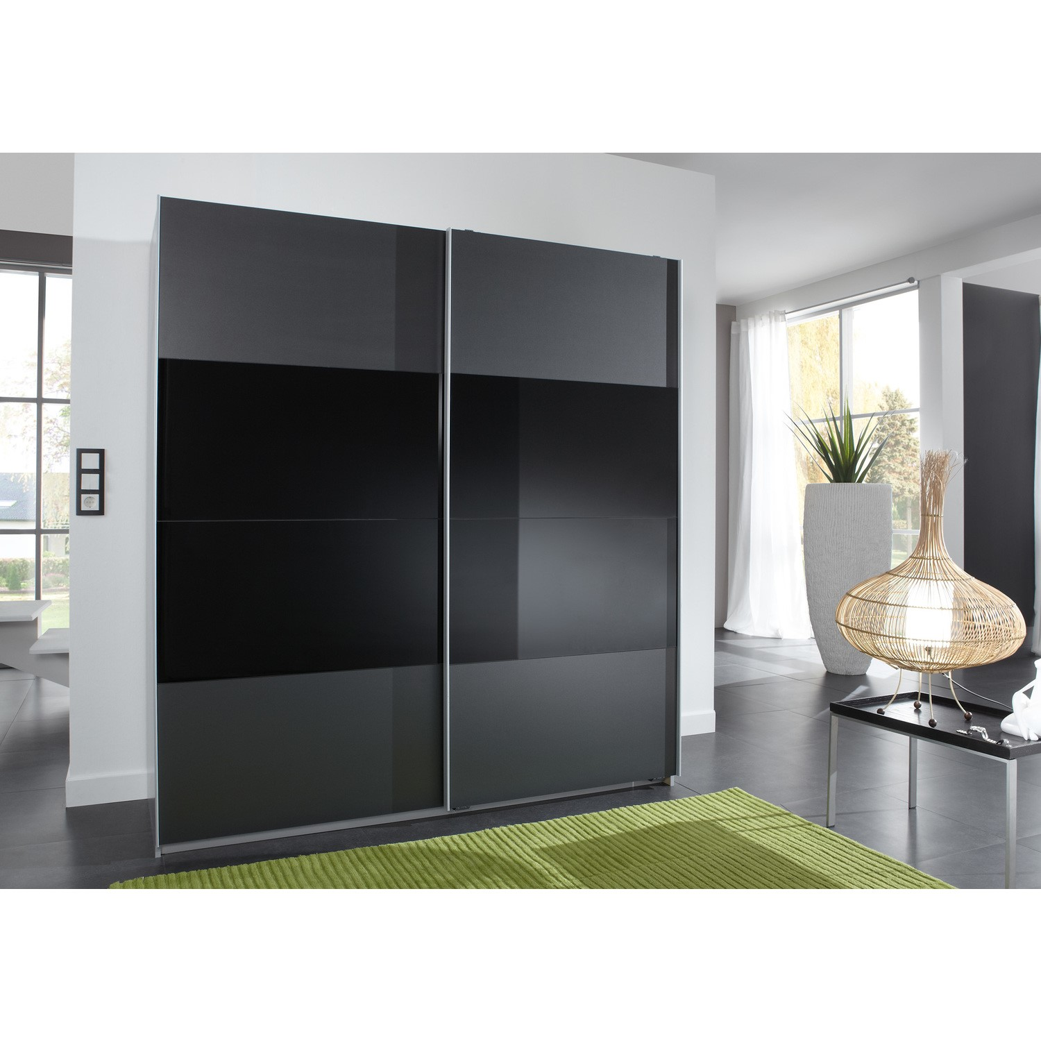 Evoque Charcoal Grey Sliding Wardrobe With Black Glass