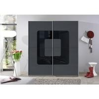Evoque Curve Grey Sliding Wardrobe with Black Glass Insert