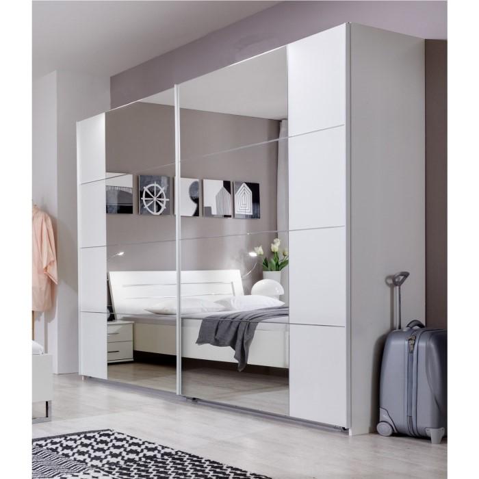 evoque sliding door mirrored wardrobe in white furniture123. Black Bedroom Furniture Sets. Home Design Ideas