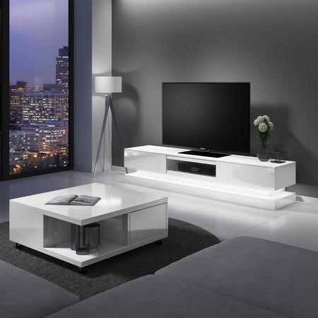 Evoque White High Gloss TV Unit with Lower LED Lighting