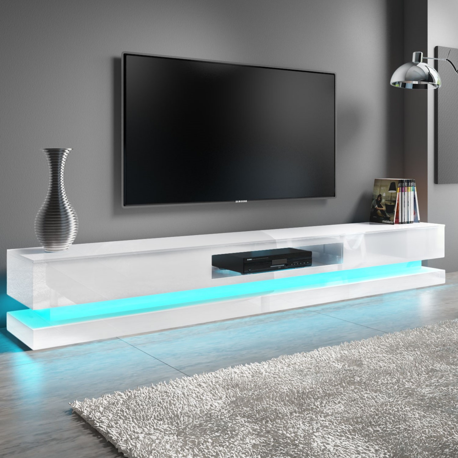 Extra Large White Gloss Tv Stand With Leds Tv S Up To 80 Evoque Furniture123