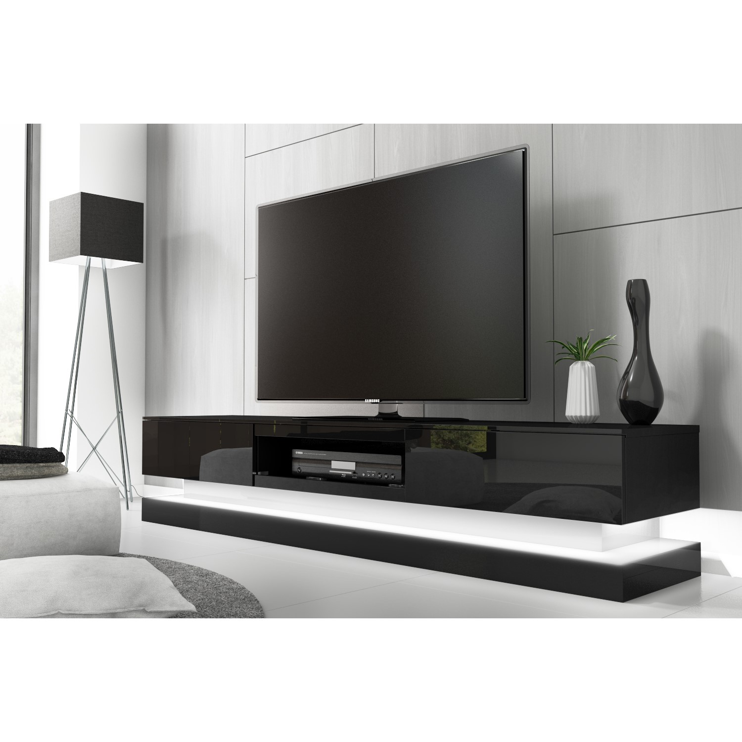 finest selection a1351 fd2f1 Evoque Large Black High Gloss TV Unit with LED Lighting - TV's up to 70