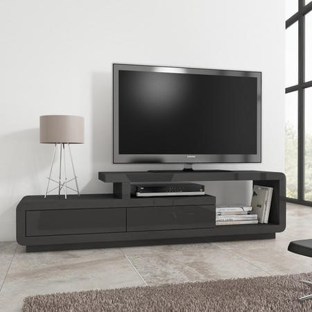 Evoque Grey High Gloss Tv Unit Stand With Storage Drawers