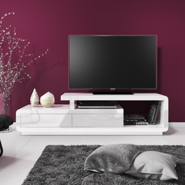Tv Tables Menard High Gloss Tv Unit: Evoque White High Gloss TV Unit Stand With Storage Drawers
